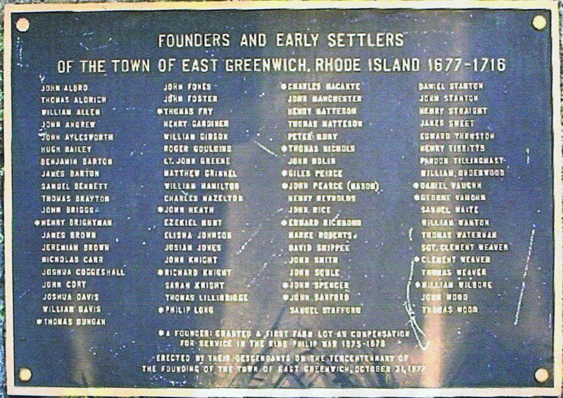 Founders and Early Settlers of the Town of East Greenwich, Rhode Island 1677-1716